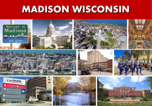 Madison WI City Photo Montage - Website Page Photo Banner - Transportation Services Between Minneapolis MN and Madison WI