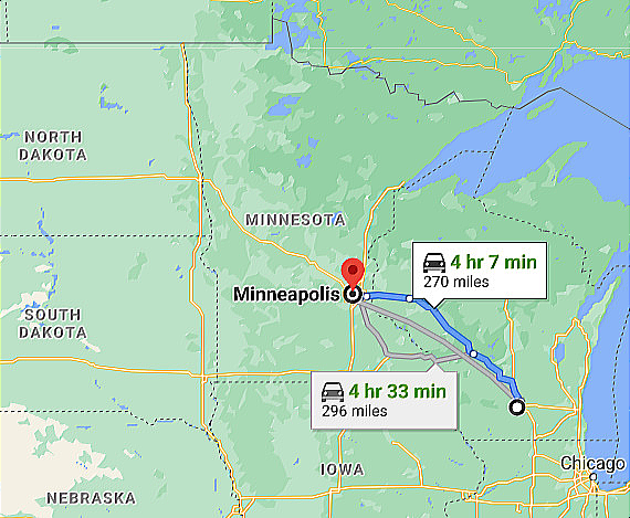 Map Minneapolis MN to Madison Wisconsin Google Map Image