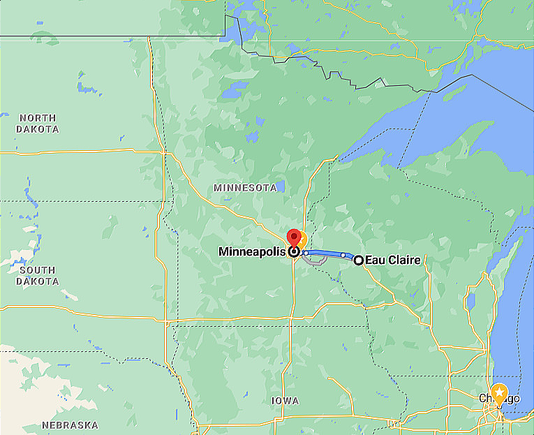 Google Map Eau Claire WI Wisconsin to Minneapolis MN