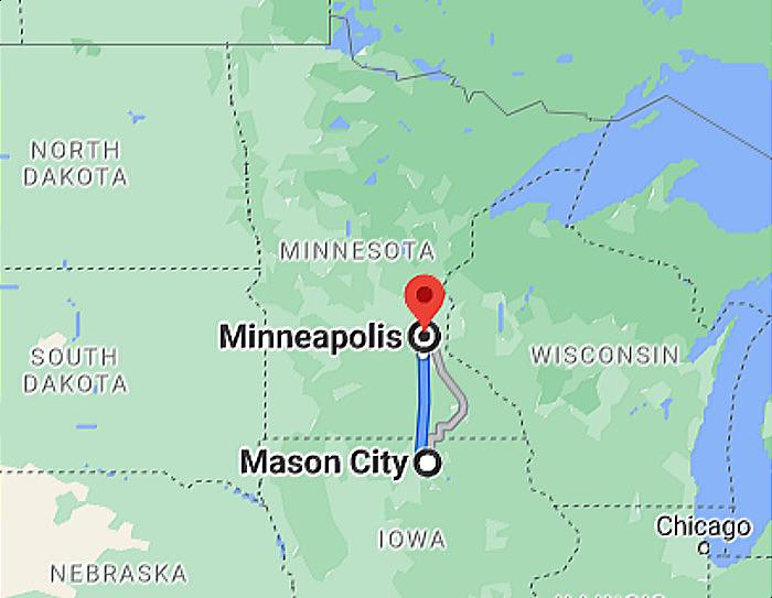 Map Minneapolis to Mason City IA Google Map Image