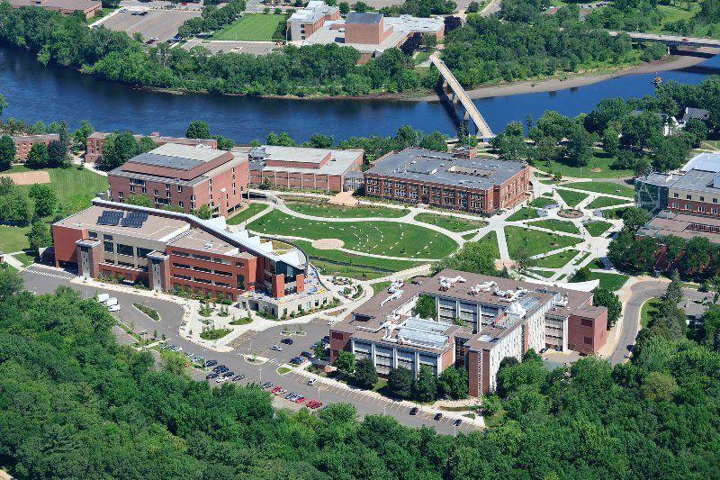 UW Eau Claire - School Campus Buildings Aerial View Photo - Eau Claire University of Wisconsin