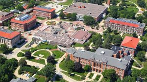 University of Northern Iowa in Cedar Falls and Waterloo IA Aerial Campus View Image