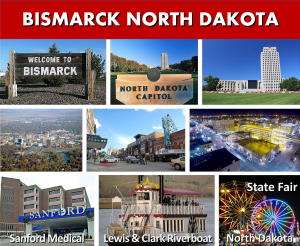 Bismarck ND North Dakota State Capitol City - Photo Montage - Website Page Photo Banner - Transportation Services Between Minneapolis MN and Bismarck ND