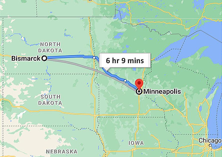 Map - Ground Transportation between Minneapolis MN and Bismarck North Dakota - Google Map Photo Image