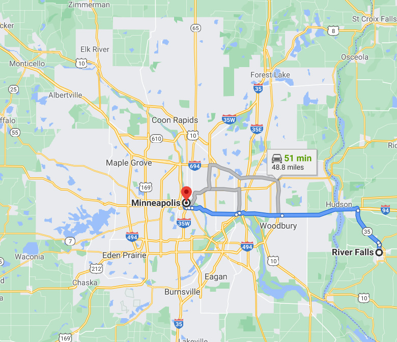 Map - Ground Transportation between River Falls Wisconsin and Minneapolis MN - Google Map Photo Image