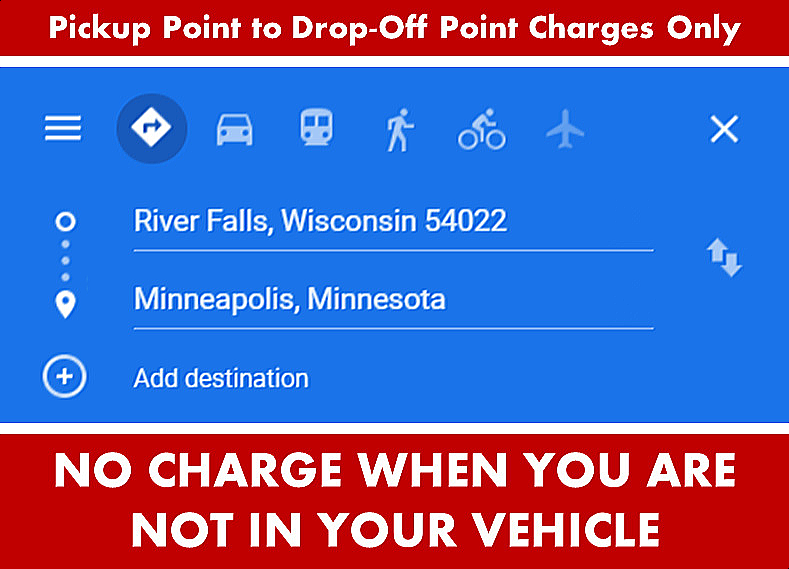 River Falls WI Wisconsin Limo and Car Services to-from Minneapolis-St Paul - Google Map Directions Search Image