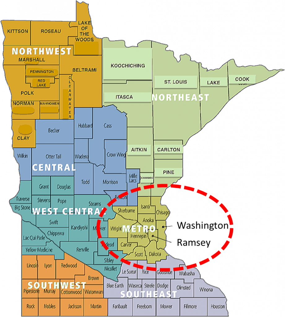 Minnesota Map-Twin Cities Metro Area Counties-Limo-Car Service-Group Shuttle Bus Transportation Services